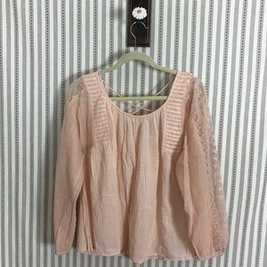 Lucky Brand Loose Boho Blouse Cross Back